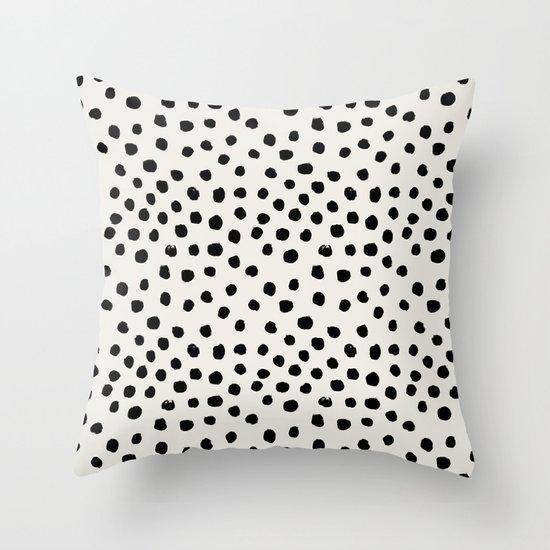 Preppy brushstroke free polka dots black and white spots dots dalmation animal spots design minimal by charlottewinter