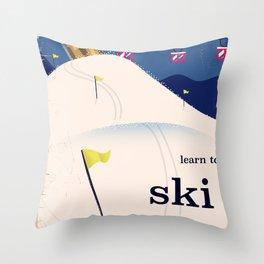 Learn to ski vintage cartoon Throw Pillow