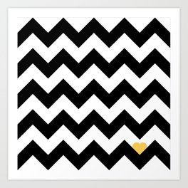 Heart & Chevron - Black/Yellow Art Print