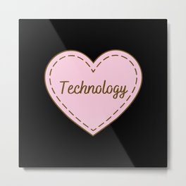 I Love Technology Simple Heart Design Metal Print