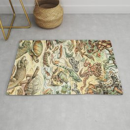 Reptiles II by Adolphe Millot // XL 19th Century Snakes Lizards Alligators Science Textbook Artwork Rug