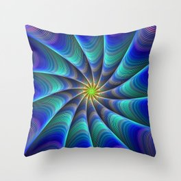 Peacock Feathered-Inspired Spiral Fractal Art Throw Pillow