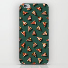 Pizza Party Pattern - Floating Pizza Slices on Teal iPhone Skin