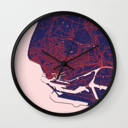 Le Havre, France, Blue, White, City, Map Wall Clock