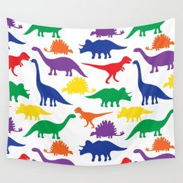 Dinosaurs - White Wall Tapestry