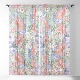 Hibiscus Aloha Stripe Sheer Curtain