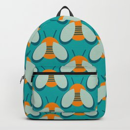 Lucky Bee - Cute Retro Minimalism in Orange and Turquoise Backpack