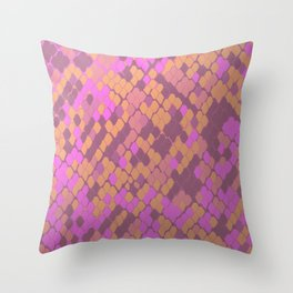 Gold and Pink Snake Skin Throw Pillow