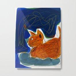 Socca Ginger Cat Art Metal Print