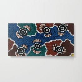 Authentic Aboriginal Art - Riverside Dreaming Metal Print