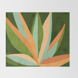 Colorful Agave / Painted Cactus Illustration Throw Blanket