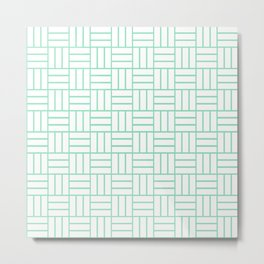 Basketweave (Mint & White Pattern) Metal Print