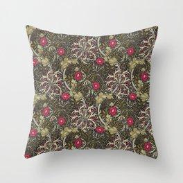 William Morris Red Seaweed Throw Pillow