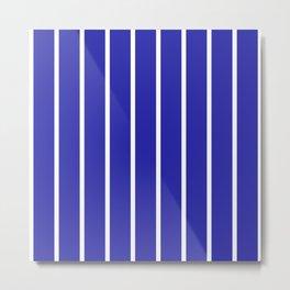 Vertical Lines (White & Navy Pattern) Metal Print