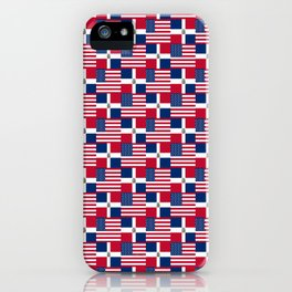 Mix of flag: usa and dominican republic iPhone Case