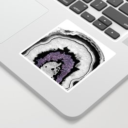 Gray Black White Agate with Ultra Violet Glitter #1 #gem #decor #art #society6 Sticker
