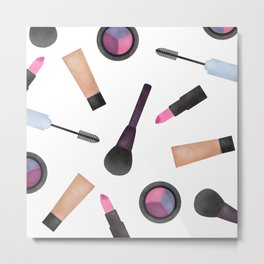 Scattered Makeup Pattern Metal Print