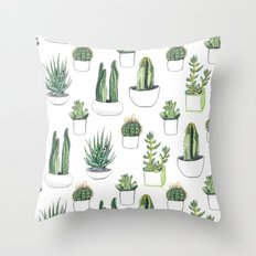 watercolour cacti and succulent Throw Pillow