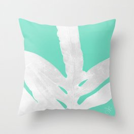 Green Fern on Ice Mint Green Inverted Silver Throw Pillow