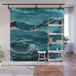 Glamour Turquoise Blue Bohemian Watercolor Marble With Silver Glitter Veins Wall Mural