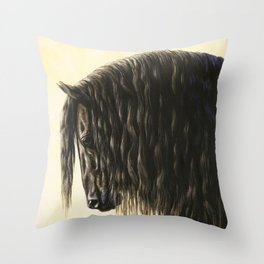 Black Friesian Draft Horse Throw Pillow