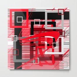 red black silver grey white abstract geometric art Metal Print