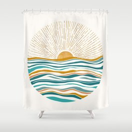 The Sun and The Sea - Gold and Teal Shower Curtain
