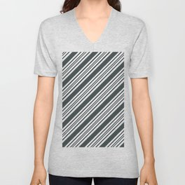 PPG Night Watch Pewter Green and Dark Green Thick and Thin Angled Lines - Stripes Unisex V-Neck