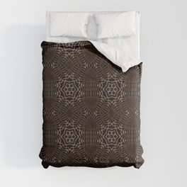 Shapes of stars and snowflakes with dark gold and bronze tones Comforters