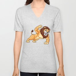 Lion as Bodybuilder with big Muscles Unisex V-Neck