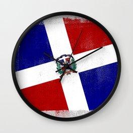 Dominican Republic Distressed Halftone Denim Flag Wall Clock