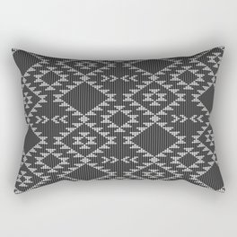 Southwestern textured navajo pattern in black & white Rectangular Pillow