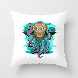 Scuba Diving Octopus Steampunk Throw Pillow