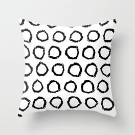 Classic vintage pattern with polka dot circles, texture grunge crayons ink Throw Pillow