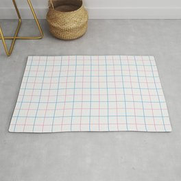 Grid Color Combination Blue Pink Rug