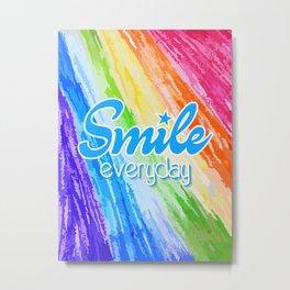 Smile Everyday, Crayon Colors, Kids Crayon, color splash, blue version Metal Print