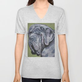Neapolitan Mastiff dog art portrait from an original painting by L.A.Shepard Unisex V-Neck