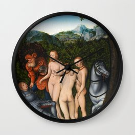 "Lucas Cranach the Elder ""The Judgement of Paris""(Copenhagen) Wall Clock"