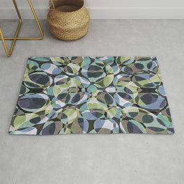 Blue Green Layered Ovals Rug