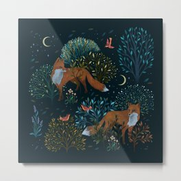 Forest Foxes Metal Print
