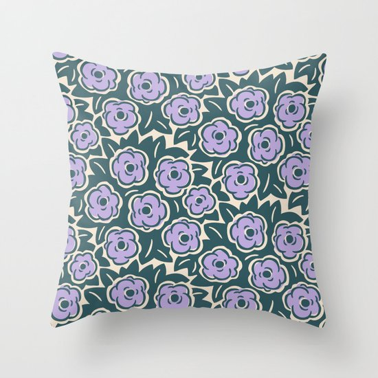 Flower Bouquet Pattern Lavender and Green by tonymagner