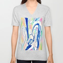 Plant in Blue Marker - Leaf of Life Miracle Leaf - Rainbow Colorful 2 Unisex V-Neck