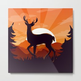 Deer in the jungle Metal Print