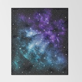 Purple Teal Galaxy Nebula Dream #1 #decor #art #society6 Throw Blanket