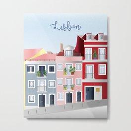 Travel Illustration. Lisbon, Portugal Metal Print