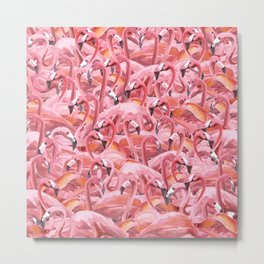 Watercolor Flamingo Flock of Flamongos Metal Print