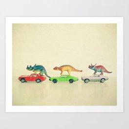 Dinosaurs Ride Cars Kunstdrucke