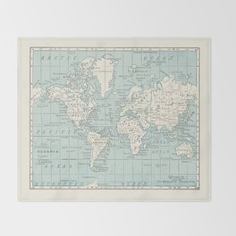 World Map in Blue and Cream Decke