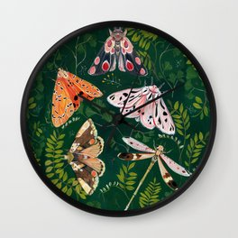 Moths and dragonfly Wall Clock