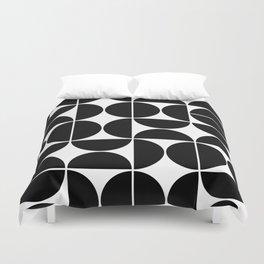 Mid Century Modern Geometric 04 Black Duvet Cover